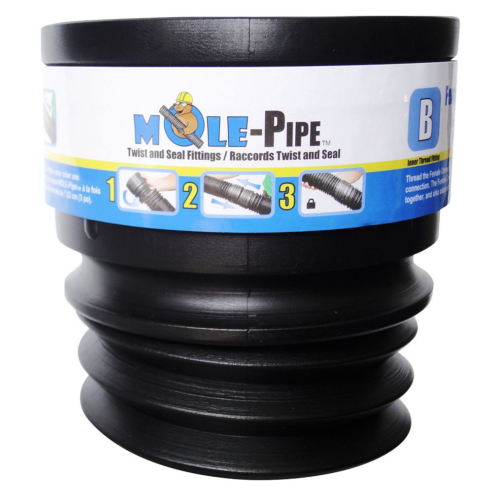MOLE-Pipe Female Coupling Connector with Twist and Seal Technology