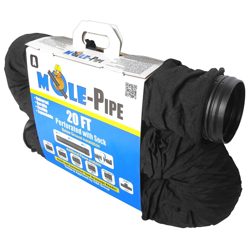MOLE-Pipe 4 in. x 20 ft. Perforated Pipe with Sock