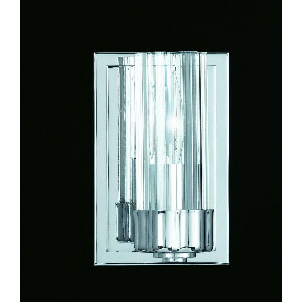 Illumine 1 Light Wall Sconce Chrome Finish Clear Fluted Glass
