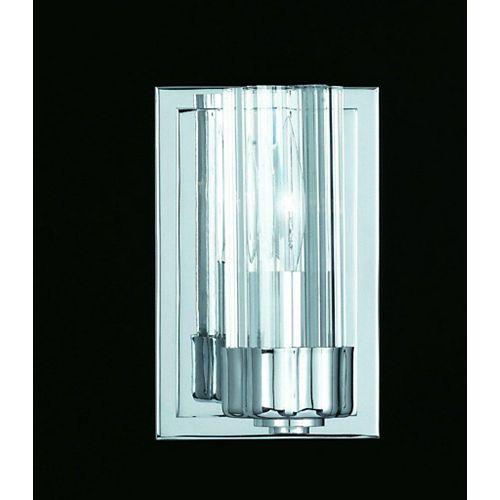 Mur de lumière 1 CHANDELIERS Chrome Terminer Clair en verre plissé