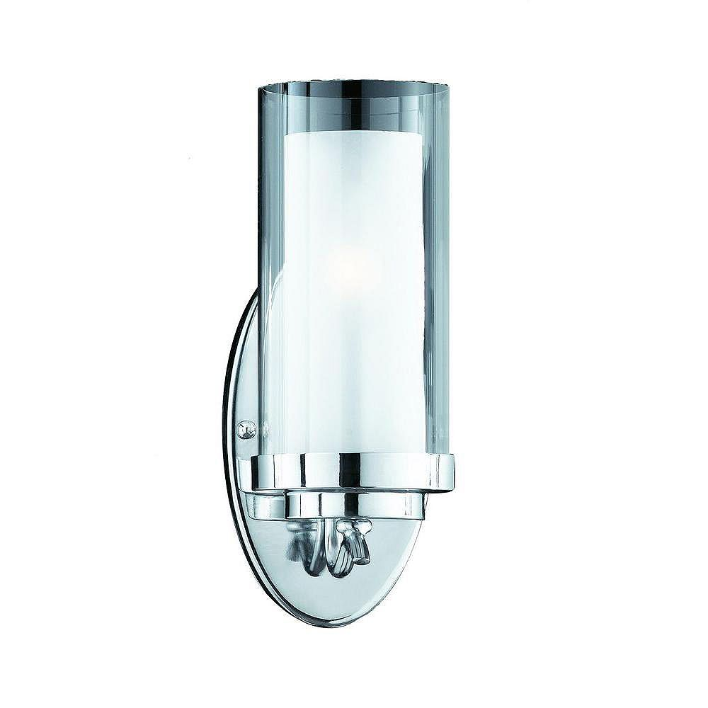 Illumine 1 Light Wall Sconce Chrome Finish Clear and Frosted Glass