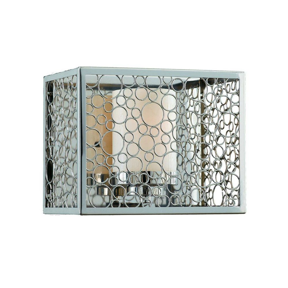 Illumine 1 Light Wall Sconce Chrome Finish Frosted White Glass