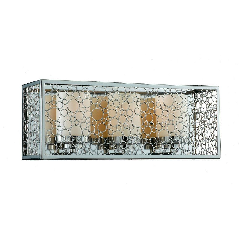 Illumine 3 Light Wall Sconce Chrome Finish Frosted White Glass