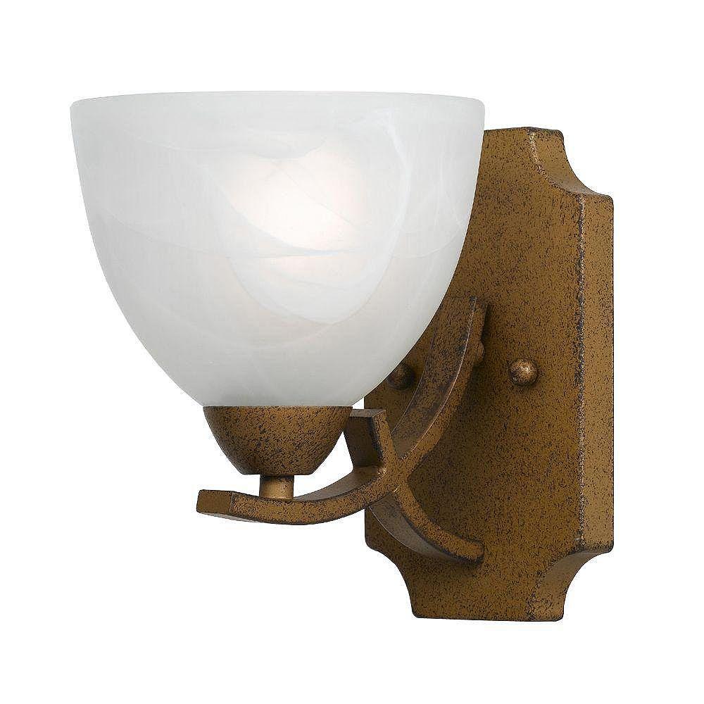 Illumine 1 Light Wall Sconce Gold Finish White Swirl Alabaster Glass Shades