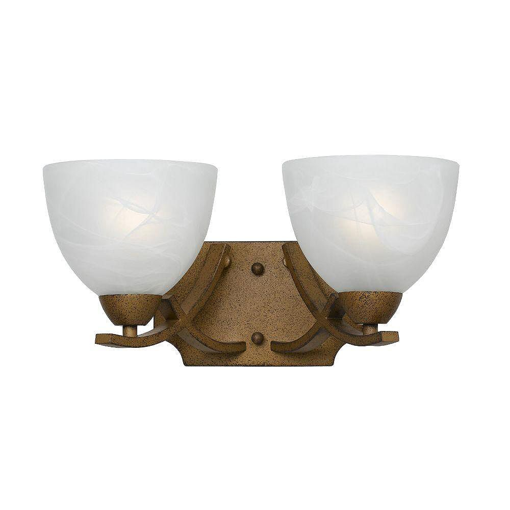 Illumine 1 Light Wall Sconce Rust Finish White Swirl Alabaster Glass Shades