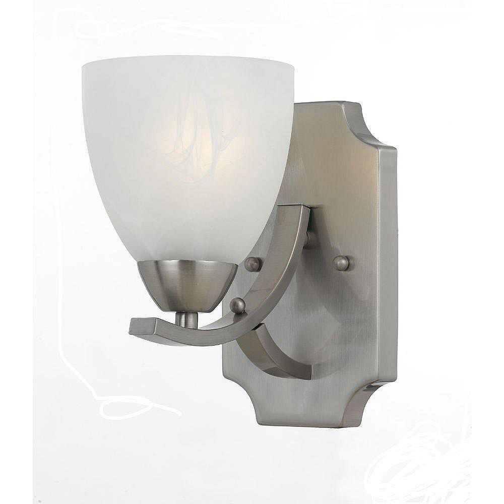 Illumine 1 Light Wall Sconce Satin Nickel Finish White Alabaster Swirl Glass