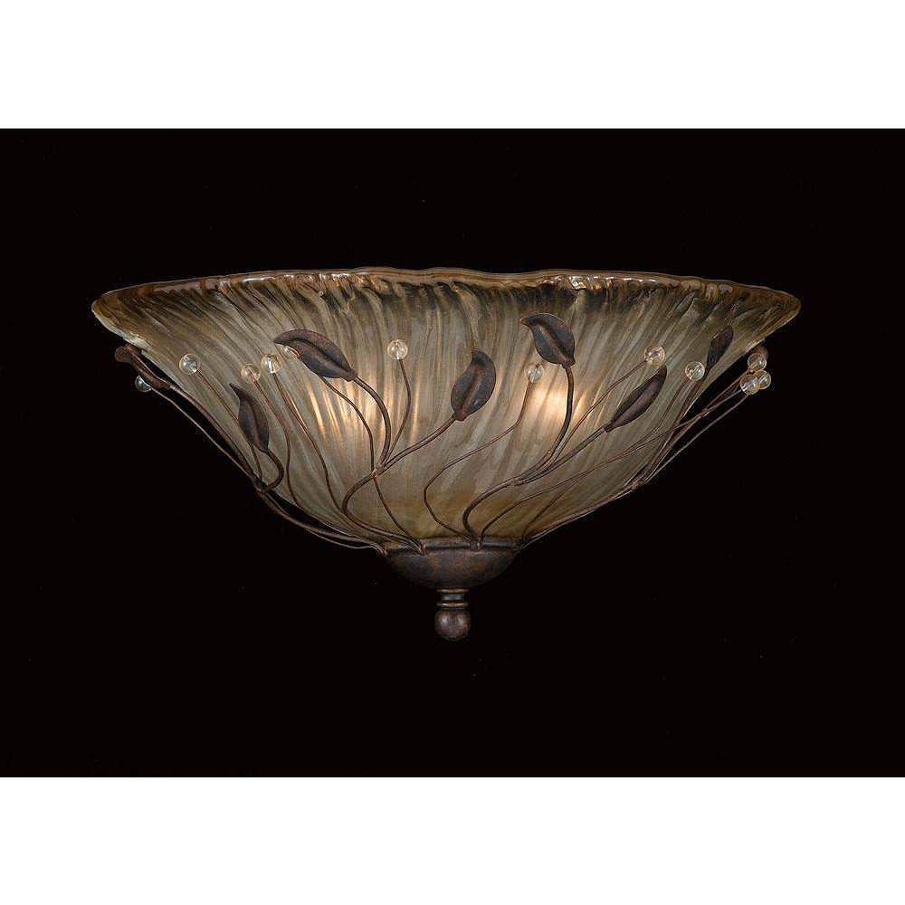 Illumine 2 Light Wall Sconce Bronze Finish Piastra Glass
