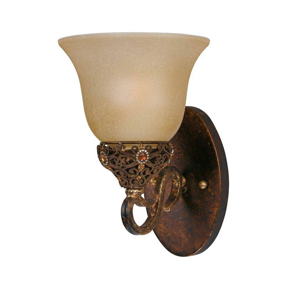 Illumine 1 Light Wall Sconce Gold Finish Cognac Tinted Scavo Glass
