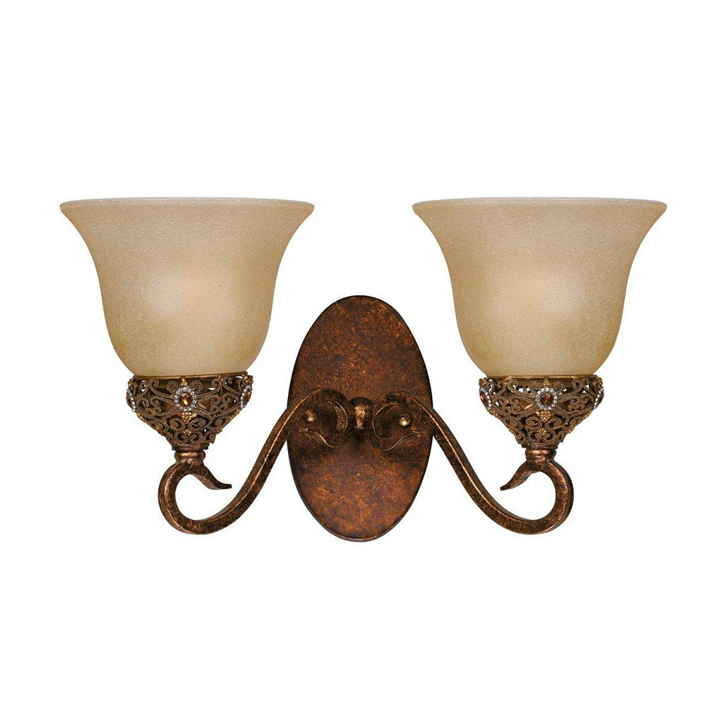 Illumine 2 Light Wall Sconce Gold Finish Cognac Tinted Scavo Glass