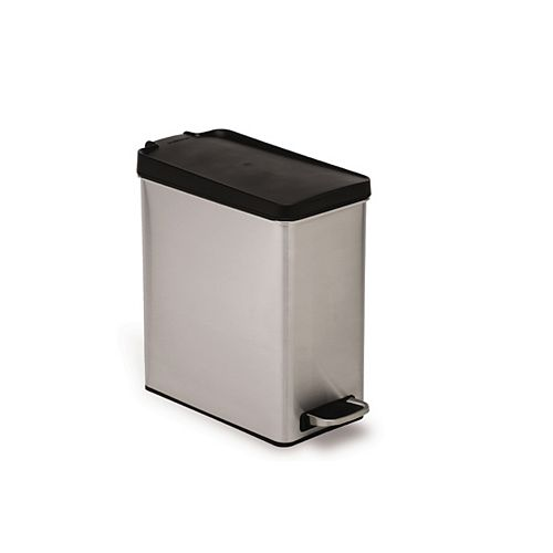 10L Brushed Stainless Steel Slim Profile Step-On Trash Can with Black Plastic Lid