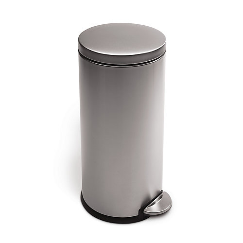 30 L Fingerprint-Proof Brushed Stainless Steel Round Step-On Trash Can
