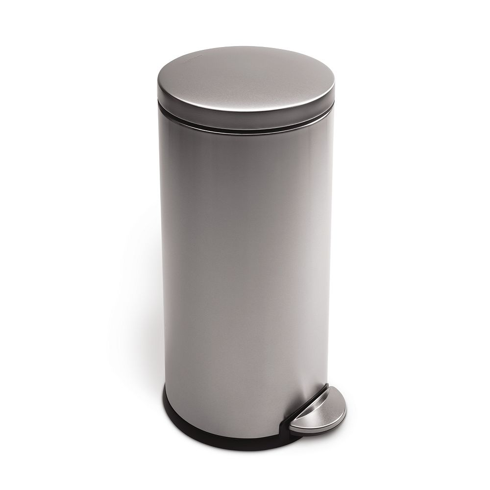 Simplehuman 30 L Fingerprint-Proof Brushed Stainless Steel Round Step-On Trash Can