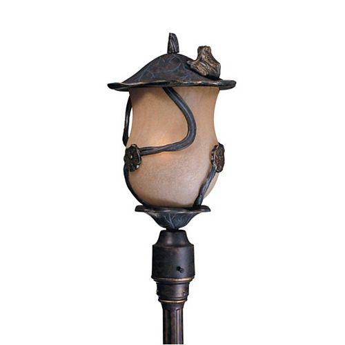 Montage 3 la lumière Post Bronze Terminer Congac Antiquedd Verre
