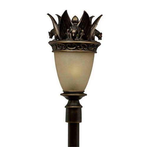 Montage 1 la lumière Post Bronze Terminer Cognac Antiquedd Verre