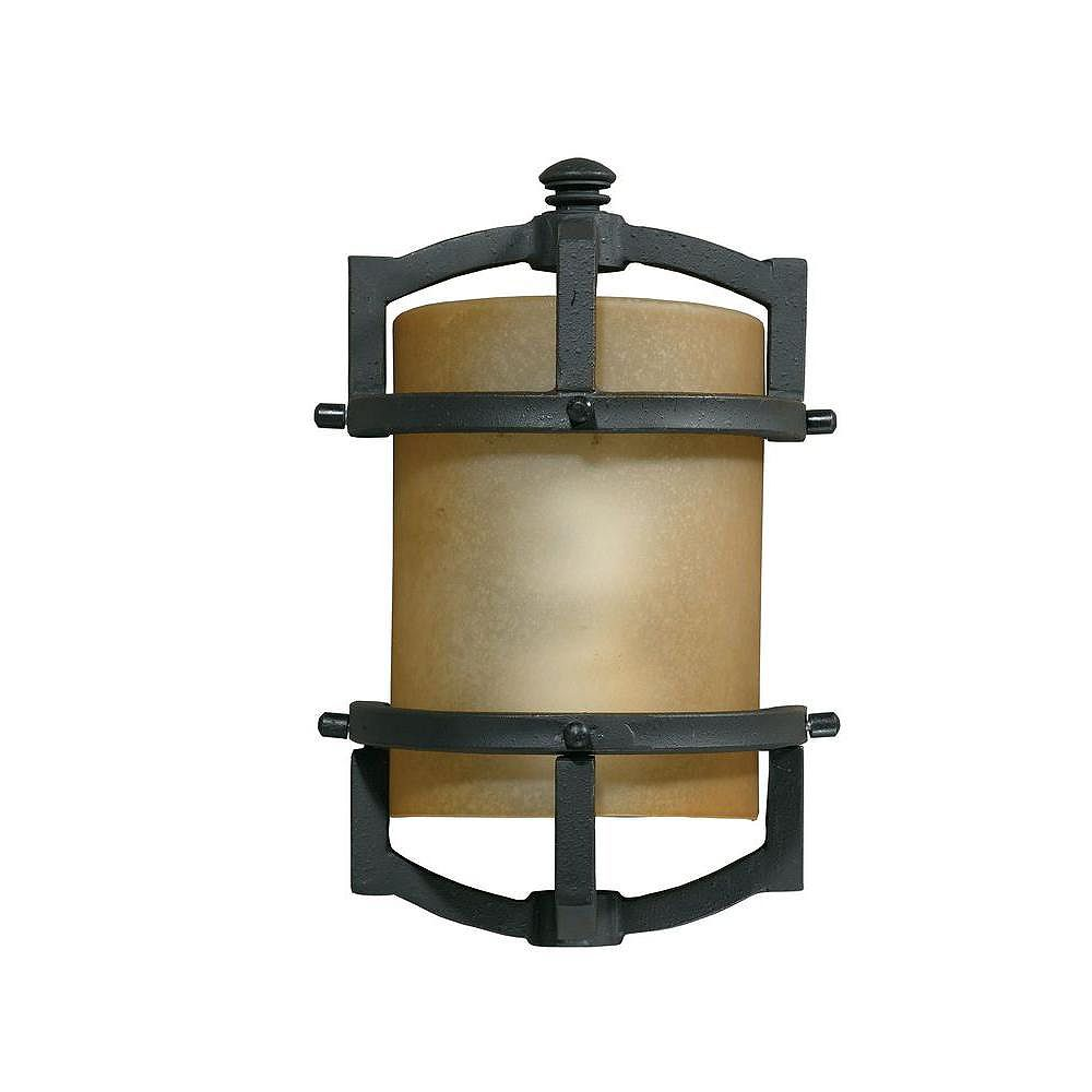 Illumine 1 Light Wall Lantern Bronze Finish Frosted Amber Glass