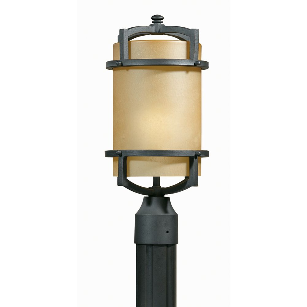Illumine 1 Light Head Post Bronze Finish Frosted Amber Glass