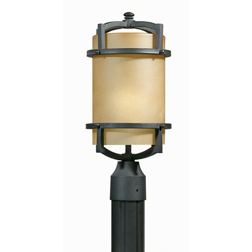 1 La lumière tête Post Bronze Terminer Orange en verre dépoli