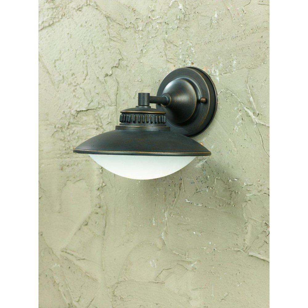 Illumine 1 Light Wall Light Bronze Finish Frosted Glass