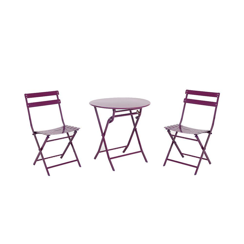 HDG 3-Piece Folding Bistro Set, Purple