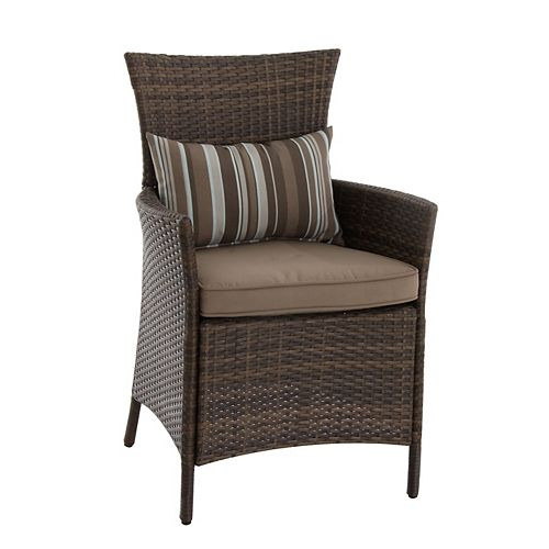 Hampton Bay Tacana Steel Woven Dining Chair with Seat Cushion (2-Pack)