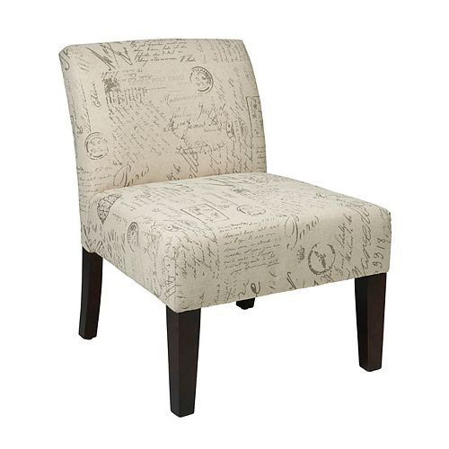 Avenue Contemporary Slipper Cotton Accent Chair in Beige with Damask Pattern