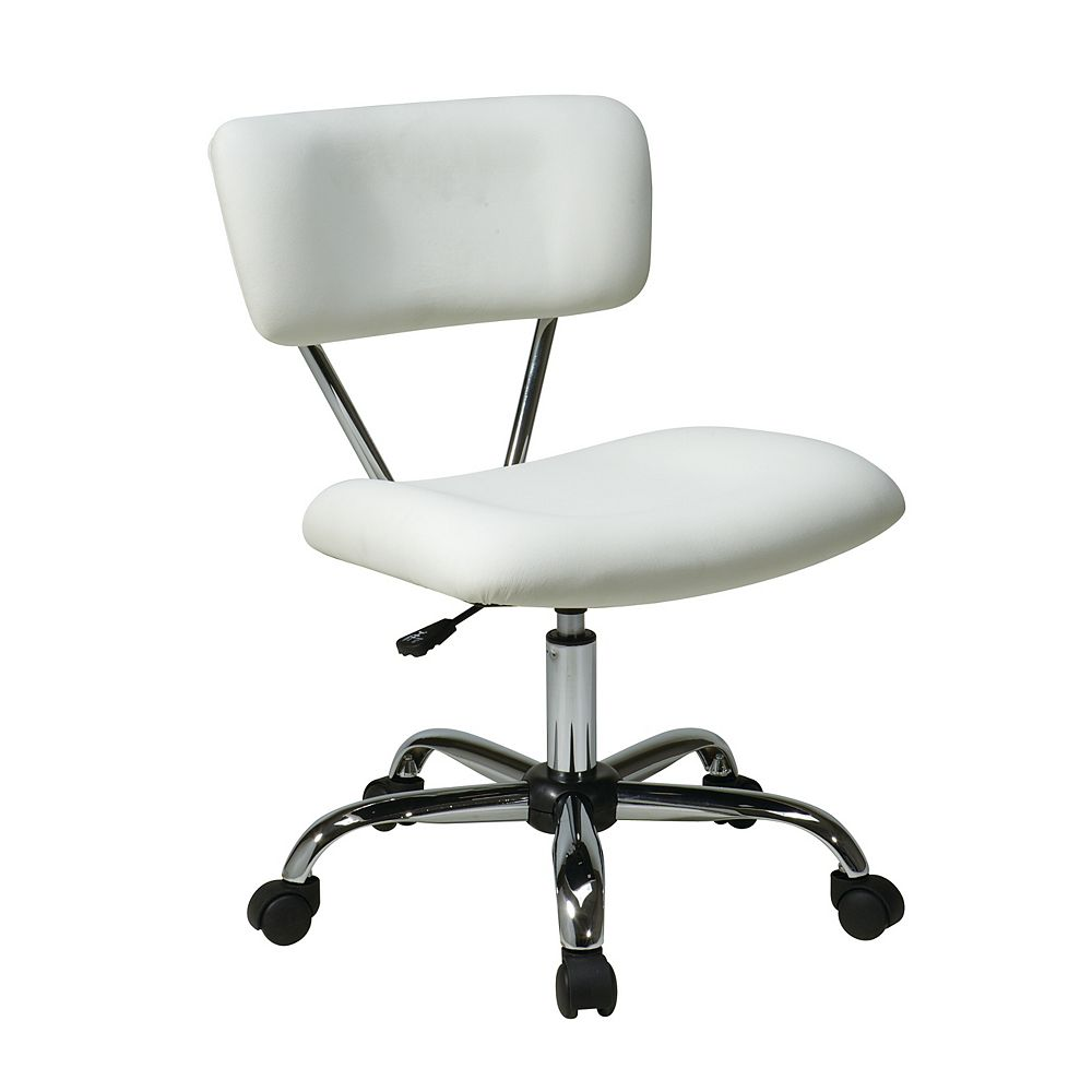 Office Star Vista Task Office Chair White Vinyl The Home Depot Canada