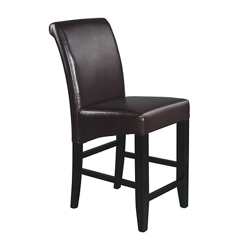 Parsons Solid Wood Espresso Full Back Armless Bar Stool with Espresso Faux Leather Seat