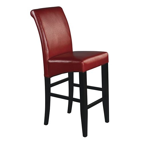 Parsons Solid Wood Espresso Contemporary Full Back Armless Bar Stool with Red Polyester Seat