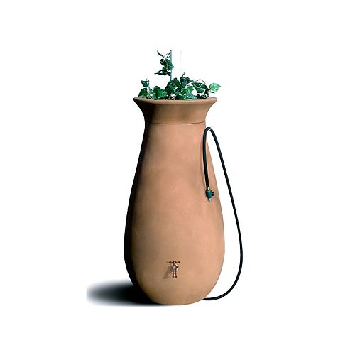Cascata 65 Gal. Decorative Rain Barrel with Integrated Planter in Terra Cotta
