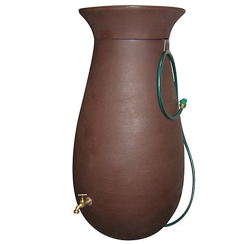 Cascata 65 Gal. Decorative Rain Barrel with Integrated Planter in Dark Brown