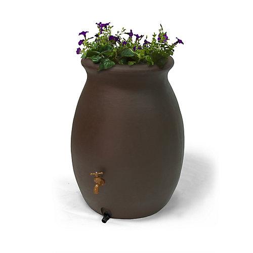 Castilla 50 Gal. Decorative Rain Barrel with Integrated Planter in Dark Brown