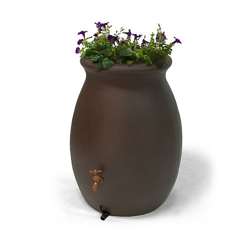 Castilla 50 Gal. Decorative Rain Barrel with Integrated Planter in Dark Brown