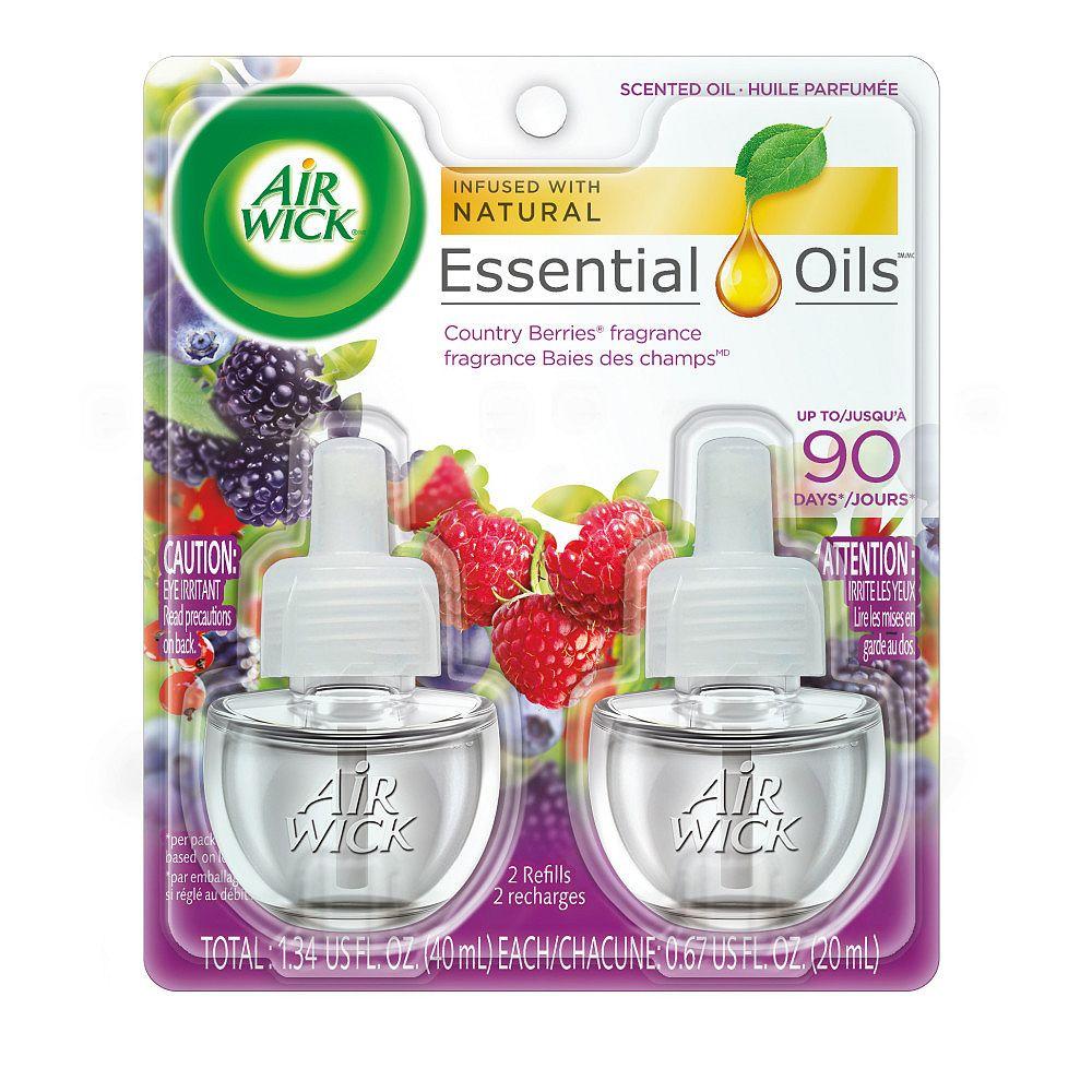Airwick Plug-in Air Freshener, Scented Oil Refills, Country Berries, 2 Refills