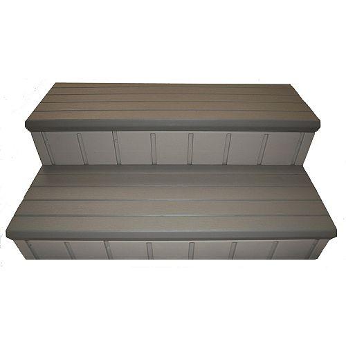 36-inch x 14-inch Hot Tub Steps in Grey
