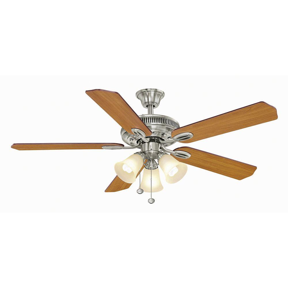 Hampton Bay Glendale 52 Inch Brushed Nickel Ceiling Fan The Home Depot Canada