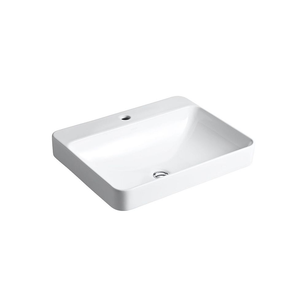 KOHLER Vox(R) Rectangle vessel bathroom sink with single faucet hole