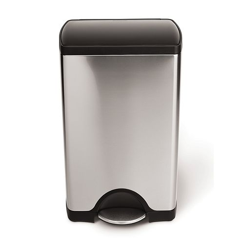 38 L Rectangular Brushed Stainless Steel Step-On Trash Can with Black Plastic Lid