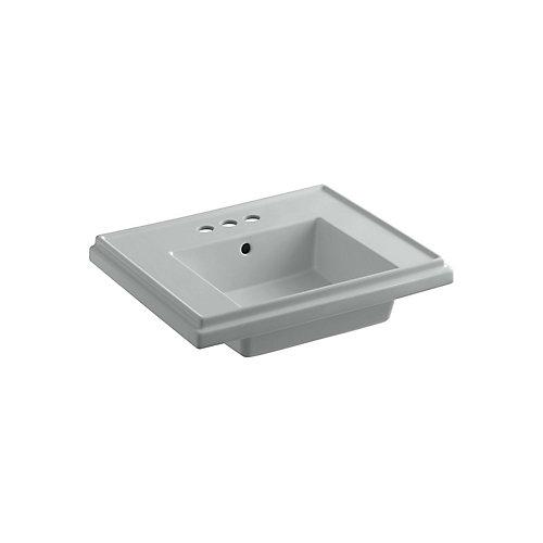 Cuvette de lavabo de salle de bain sur colonne Tresham, 24 po, avec trous pour robinet traditionnel de 4 po