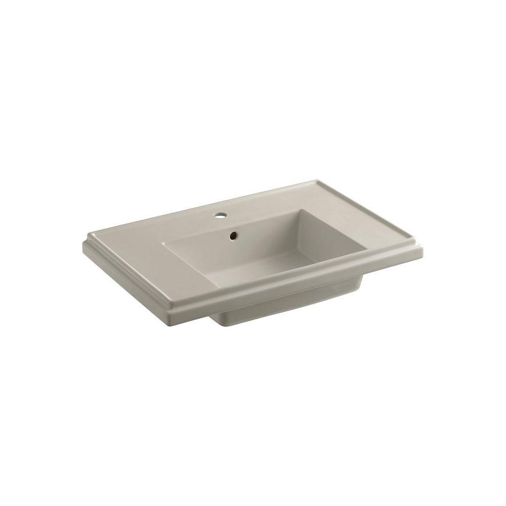 KOHLER Tresham 30-inch Single Hole Rectangular Pedestal Sink Basin with Overflow Drain in Sandbar
