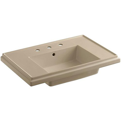 Tresham  30-inch 8-inch Widespread Rectangular Pedestal Sink Basin with Overflow Drain in Mexican Sand