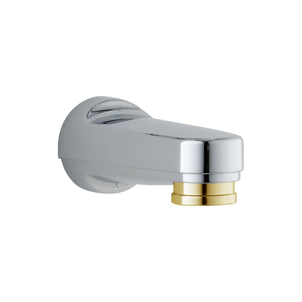 Delta Pull-down Diverter Tub Spout in Chrome & Polished Brass
