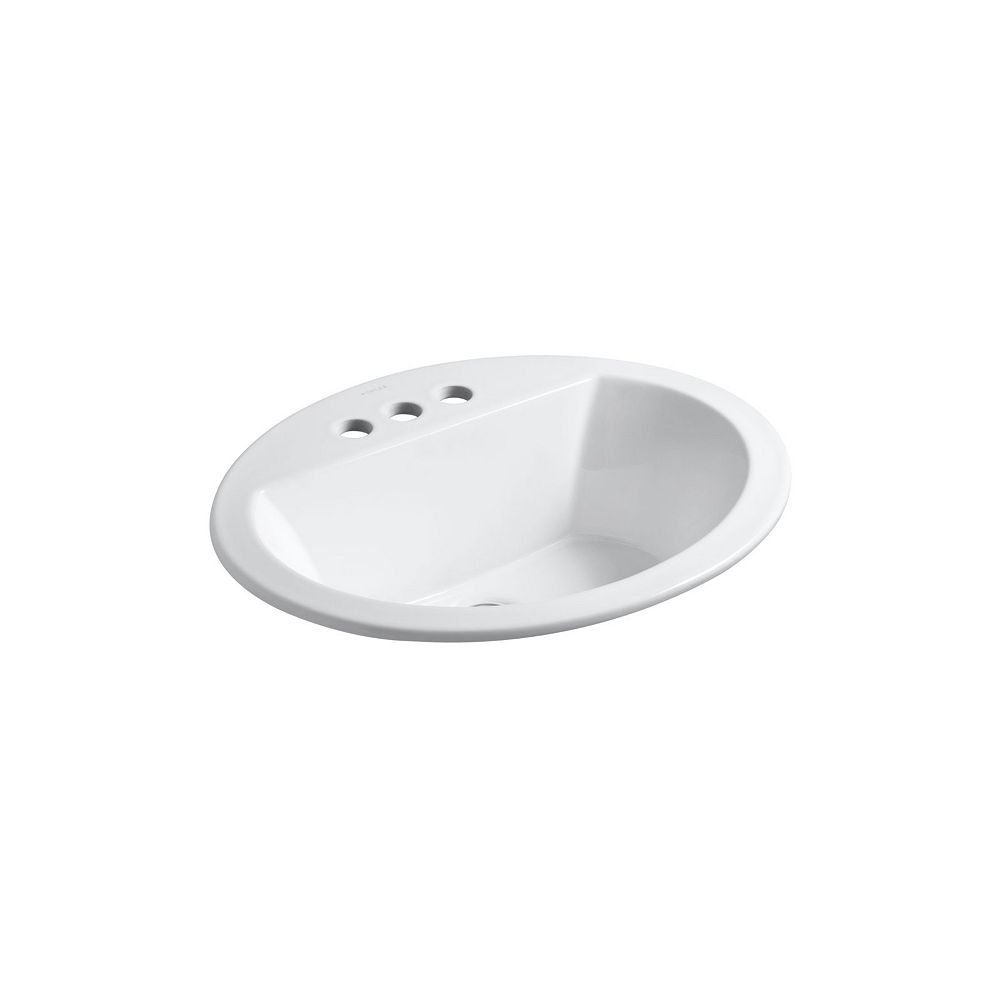 KOHLER Bryant(R) oval drop-in bathroom sink with 4 inch centerset faucet holes