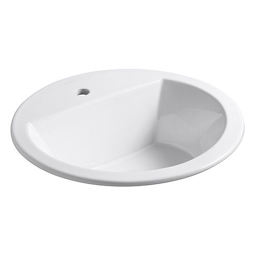 Bryant(R) round drop-in bathroom sink with single faucet hole