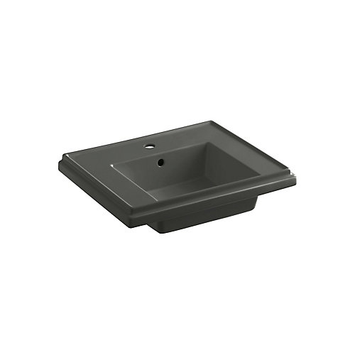 Tresham Bathroom Sink Basin with Single Hole Faucet Installation in Thunder Grey