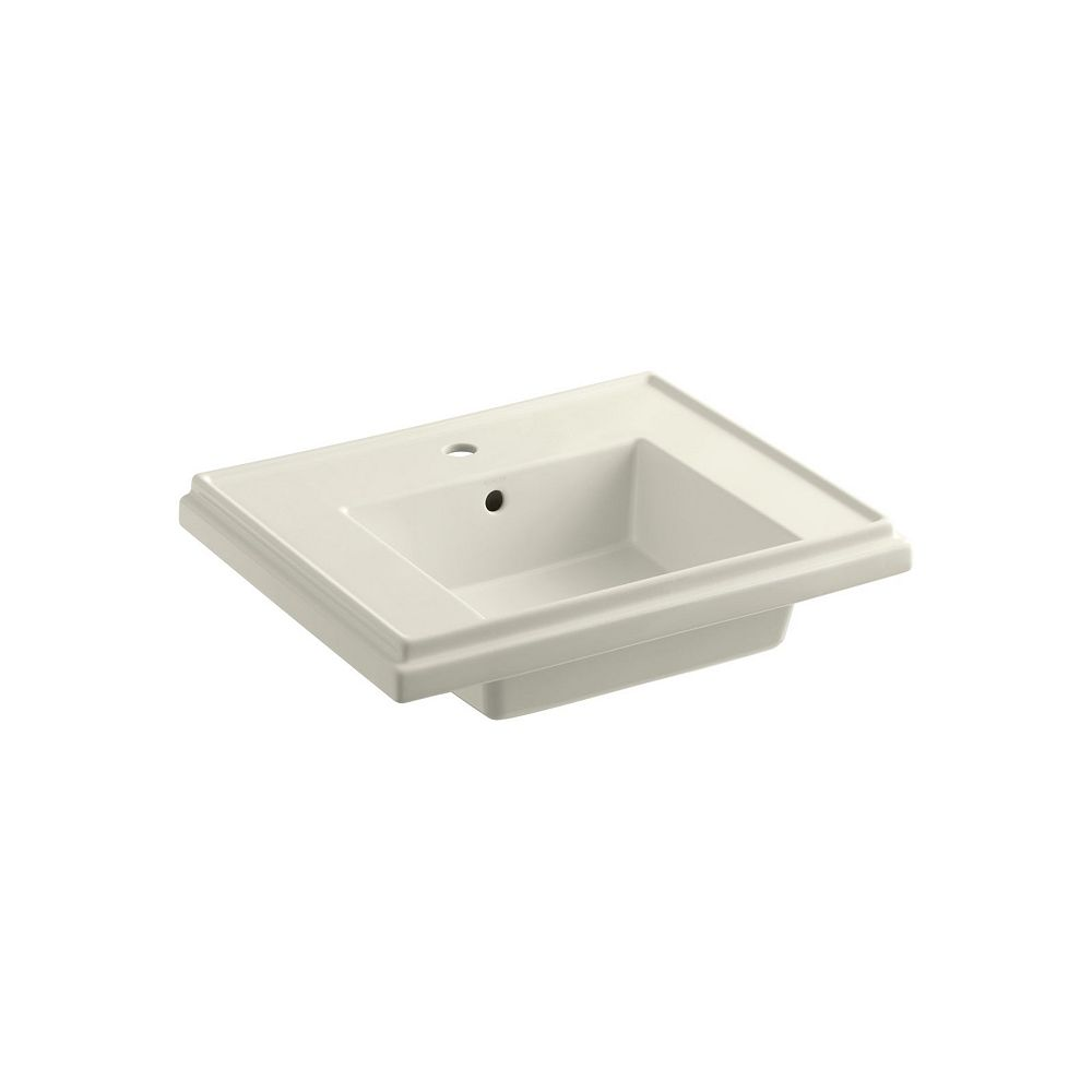 KOHLER Tresham 24-inch Bathroom Sink Basin with Single Hole Faucet Installation in Biscuit