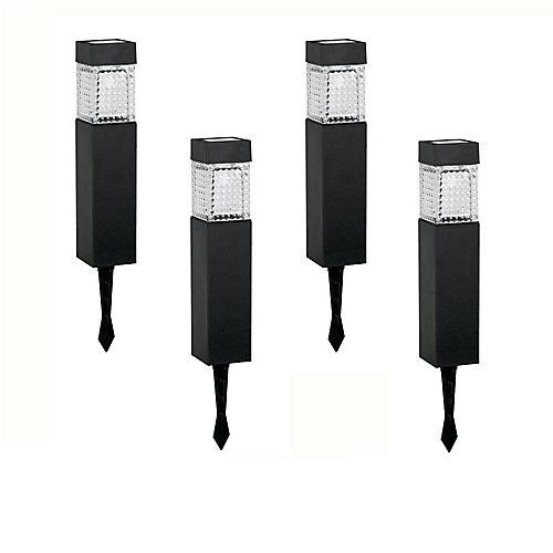 Ensemble de 4 luminaires de sol carrés solaires à DEL