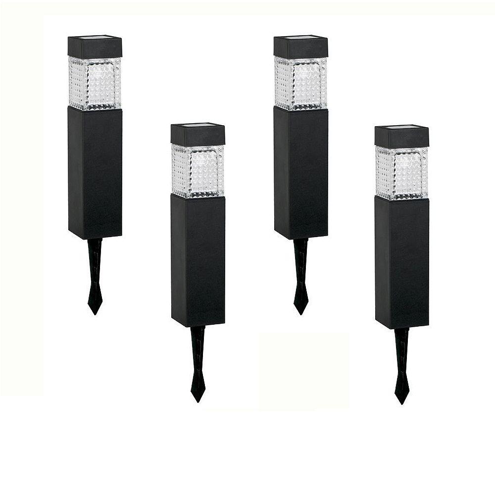 Hampton Bay Black Square Solar LED Pathway Lights (4-Pack)