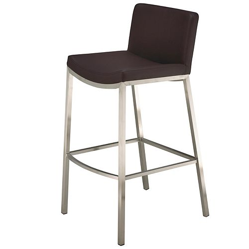 Brava Black Contemporary Low Back Armless Bar Stool with Black Faux Leather Seat - (Set of 2)
