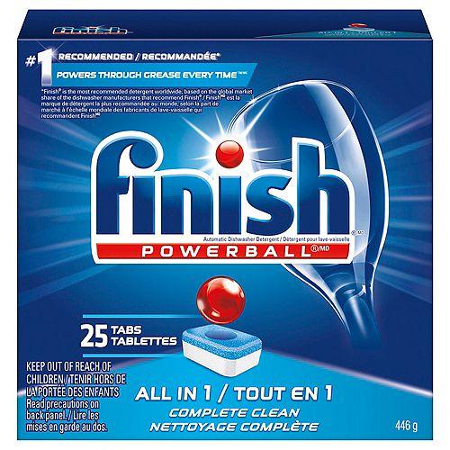 Détergent pour lave-vaisselle, Powerball All in 1, Parfum frais, 25tablettes, pouvoir nettoyant à action rapide