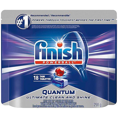Détergent pour lave-vaisselle, Quantum Max, Parfum frais, 18tablettes, fait briller et protège le verre